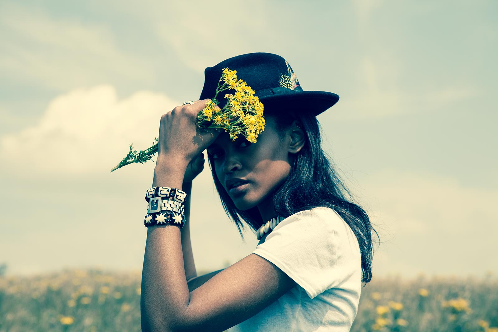portia okotcha hat and flowers hey girl magazine